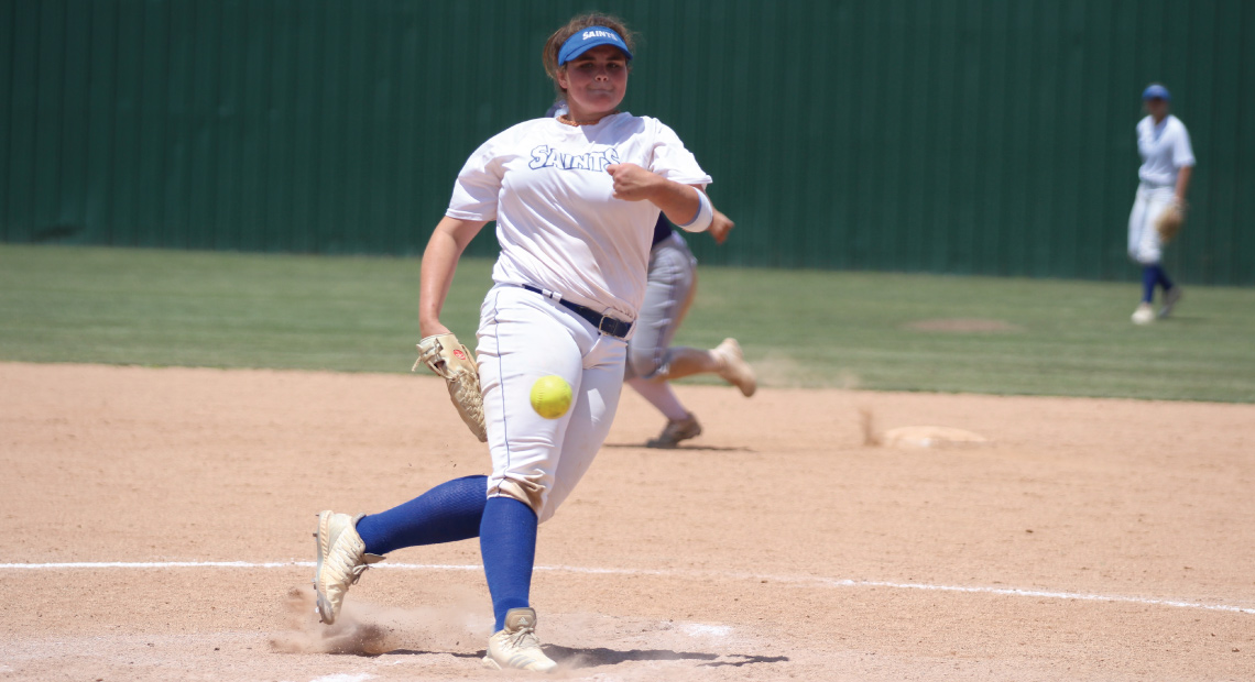 Ariel Montgomery delivers a pitch in the elimination game against LSUA.