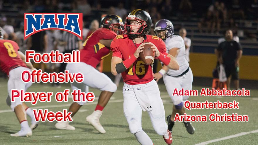 Arizona Christian University Football >> Abbatacola Of Acu Earns Weekly Naia Offensive Honors