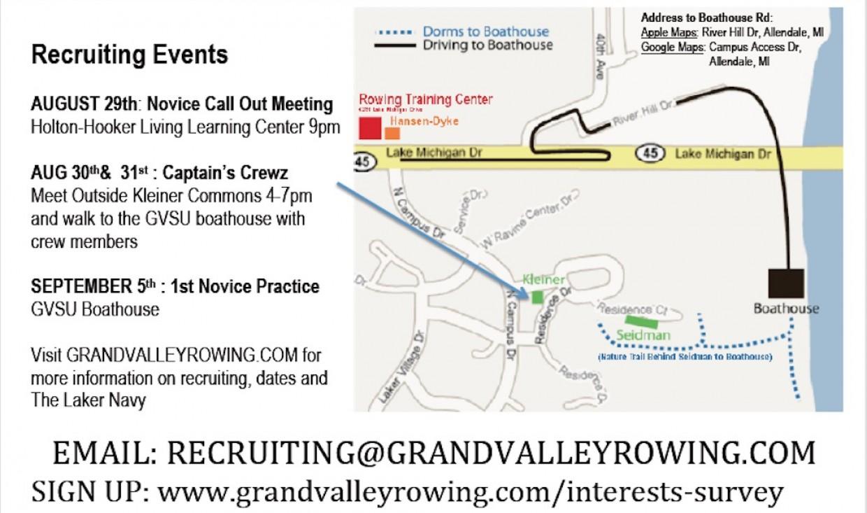 Gvsu Campus Map 2016.Grand Valley State University Club Sports 2016 17 Rowing
