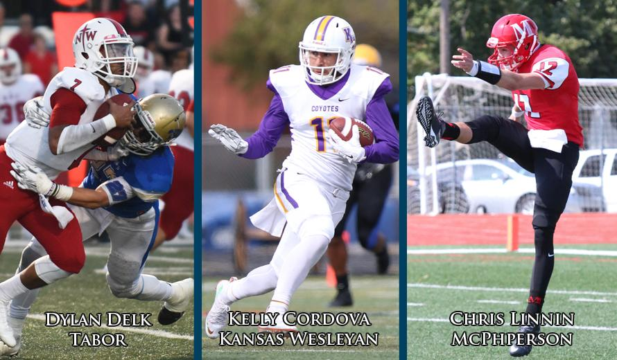 Delk, Cordova, and Linnin Earn KCAC Football Player of the Week