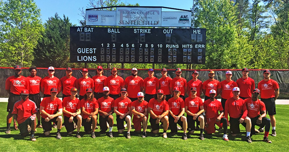 2018 Baseball Roster Bryan College