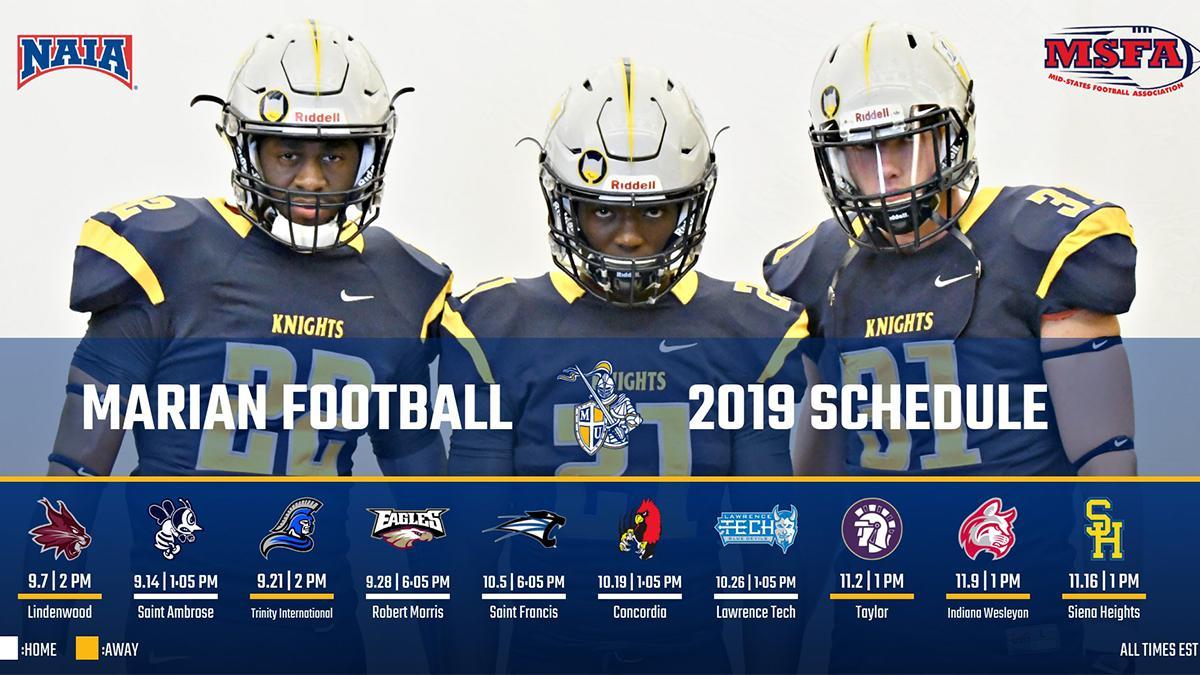 Iu Home Football Schedule 2020.Marian Football Releases 2019 Schedule Marian University