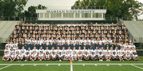 2009 Football Roster Marian University Indianapolis Athletics